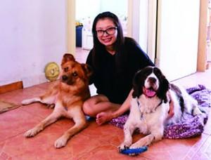 江太的兩隻愛犬Desmond(右)和蛋糕(左)相處融洽,Desmond合照時亦不忘玩弄江太送牠的潔齒骨玩具。