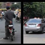不准載客牟利的「五類車」〈即摩托車、三輪車、電動車、殘疾人士輪椅車以及改裝車〉(左圖)和被除下車牌載客的「黑車」(右圖),在廣州街頭隨處可見。司機更會明目張膽勾搭市民選乘。
