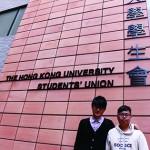 左為新一屆港大學生會會長馮敬恩,右為外務副會長李峰琦。(黃靖凝攝)