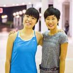 聶智敏(右)直言愛上了流汗,「一停下(跑步)便渾身不自在。」她亦會刻意配搭運動服飾,訓練後會在社交媒體上分享最美的照片。(孫綺羚攝)