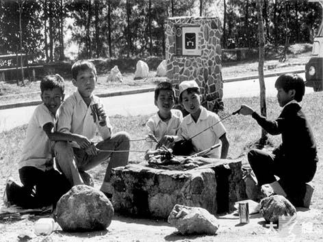 一九七零年城門郊野公園試驗區燒烤場,當時的燒烤爐及椅子均以石頭砌成,燒烤爐造價約一百元。(受訪者提供)