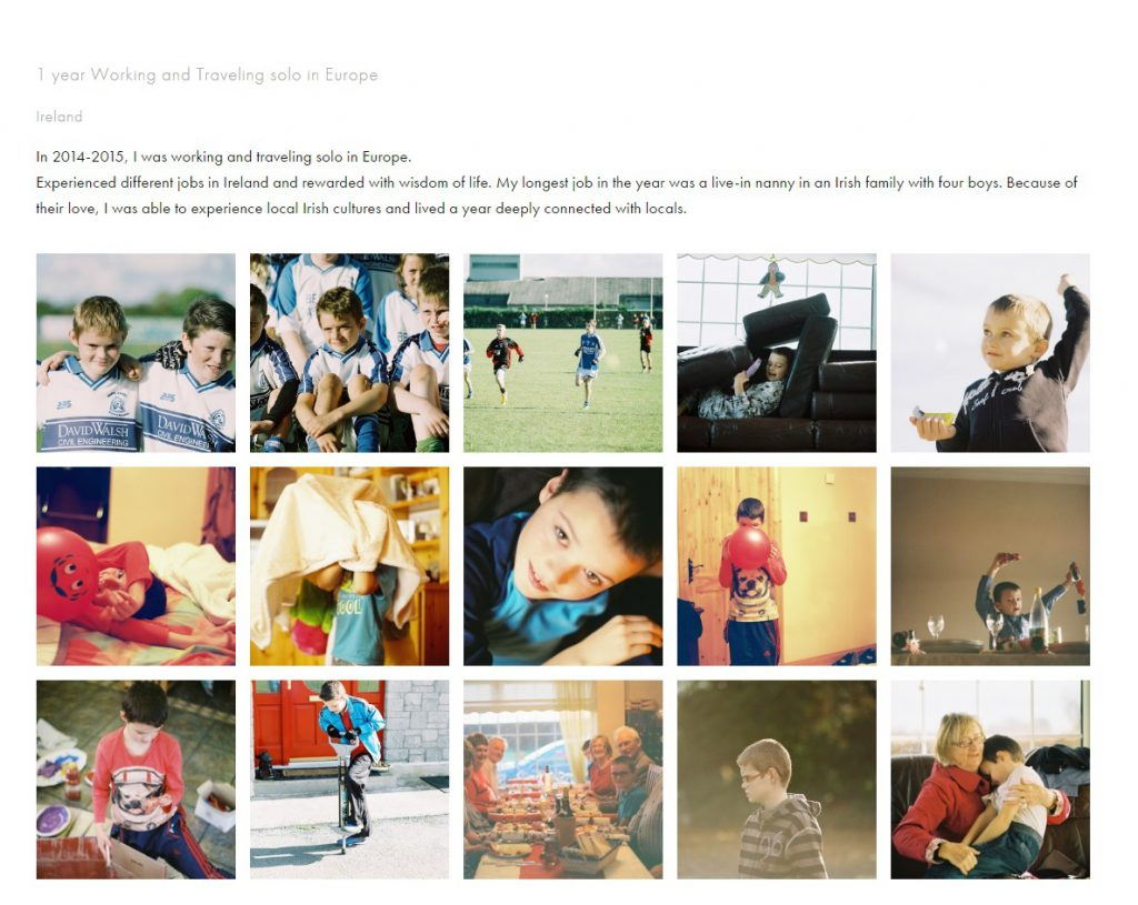 庾穎妍把在愛爾蘭當互惠生時拍下的相片放上個人網頁,與人分享她當時的生活。(網頁截圖)